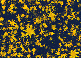 many light yellow flying stars on a blue backgrounds