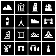 Vector black landmarks icon set