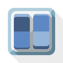 Power switch icon with long shadow on white background