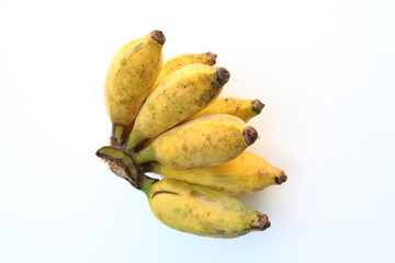 small banana on white bg
