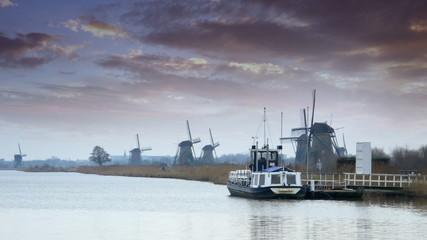 Dutch windmills and dramatic skies at polder Kinderdijk