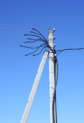 Electricity pylon on a clear blue sky
