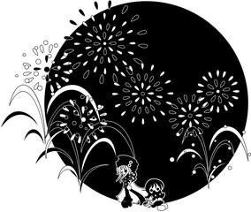 大きな花火が舞い上がる真夏の夜。ネコも一緒に花火を楽しんでいます。