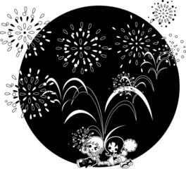 大きな花火が舞い上がる真夏の夜。恋人と一緒に楽しもう。