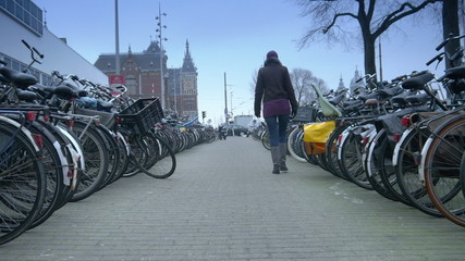 Bicycle racks at Central Station. Amsterdam, The Netherlands