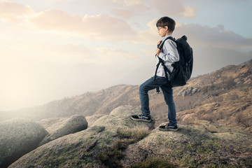 Young explorer on top of a rock