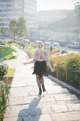 young beautiful blonde woman outdoor