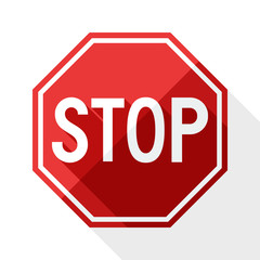Stop sign with long shadow on white background