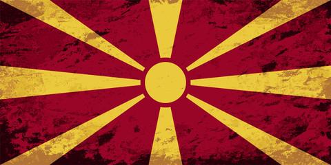 Macedonian flag. Grunge background. Vector illustration