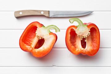 halved red bell pepper