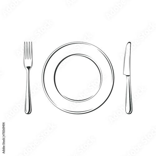 Knife, fork and plate, isolated on white background. - 78369414