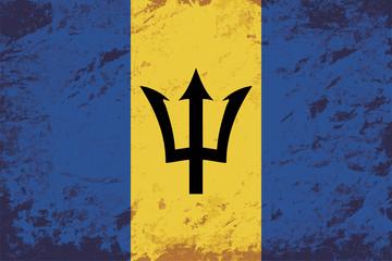 Barbados flag. Grunge background. Vector illustration