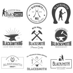 Set of vintage blacksmith labels