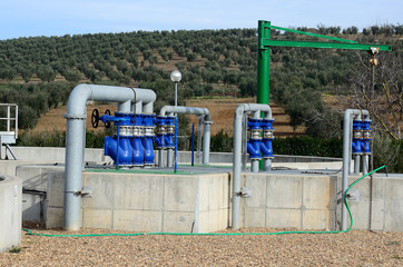 water treatment plant with valves and pipes