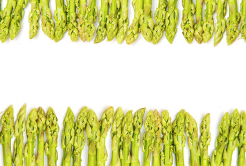 closed-up green asparagus on a white background