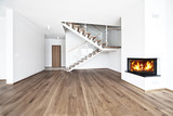 empty room with fire place