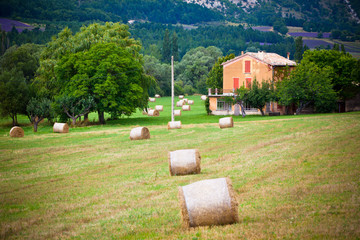 Rural landscape with Farm and Straw bales