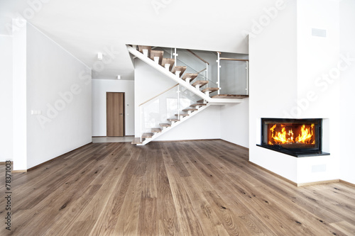 Foto op Canvas Wand empty room with fire place