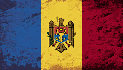 Moldovan flag. Grunge background. Vector illustration