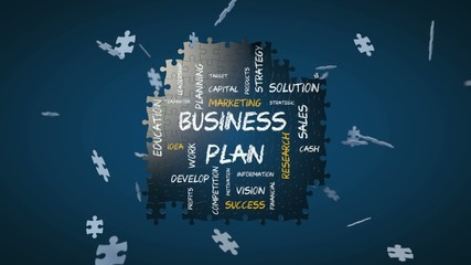 Computer generated jigsaw puzzle forming a business plan concept