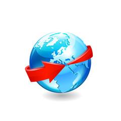 Earth with arrow circle around