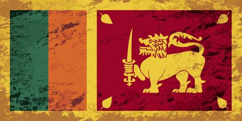 Sri Lanka flag. Grunge background. Vector illustration