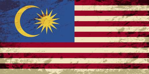 Malaysian flag. Grunge background. Vector illustration