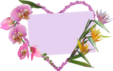 heart symbol from pink and yellow flowers on white