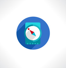 Compass sign icon. Circle flat button with shadow.