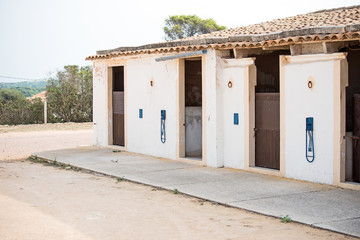Modern horse stables from the outside.