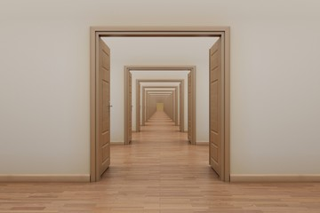 Enfilade, opening doors. Series for stop motion animation