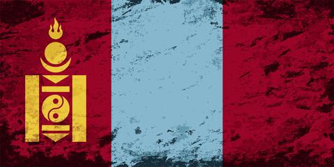 Mongolian flag. Grunge background. Vector illustration