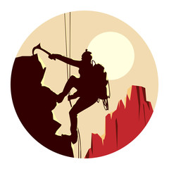 Round illustration of alpinists.