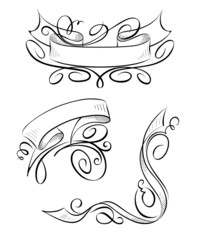 Set of design elements - Ribbons with curls