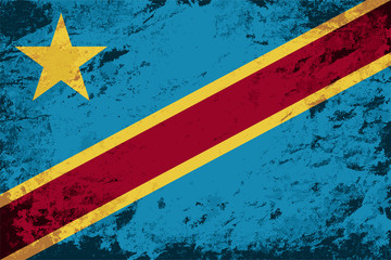 Congo flag. Grunge background. Vector illustration