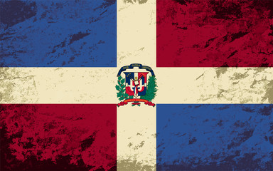 Dominican Republic flag. Grunge background. Vector illustration