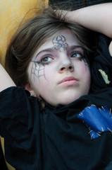 Dreamy Girl Wearing Carnival Makeup