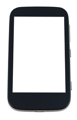 black smart phone with cut out screen