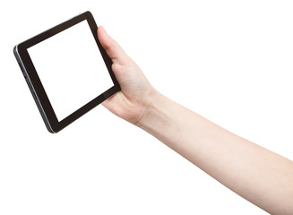 hand holds touchpad with cutout screen