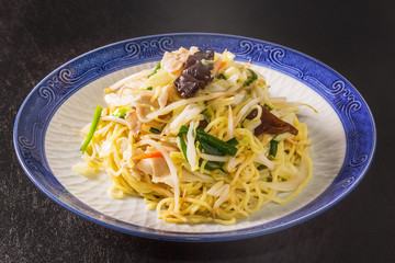 五目焼きそば  Grilling fish with salt side noodles japanese food
