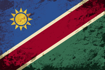 Namibian flag. Grunge background. Vector illustration