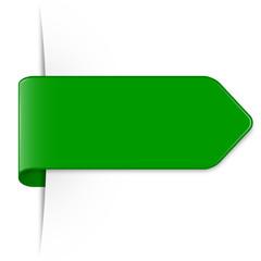 Langer grüner Sticker Pfeil mit Schatten und Textfreiraum