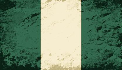 Nigerian flag. Grunge background. Vector illustration