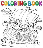 Coloring book with Viking ship - 78375654