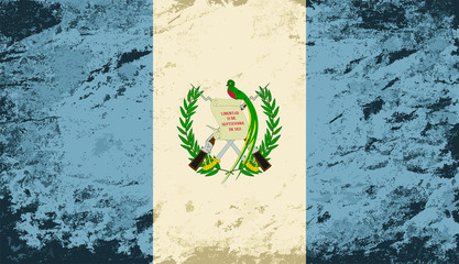 Guatemalan flag. Grunge background. Vector illustration