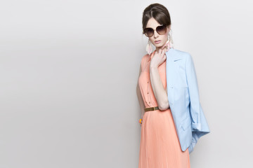 Portrait of the beautiful fashion woman in pastel stylization