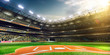 Professional baseball grand arena in sunlight - 78377040