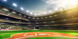 Professional baseball grand arena in sunlight poster