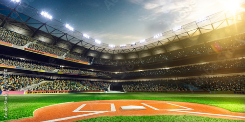 Professional baseball grand arena in sunlight Poster