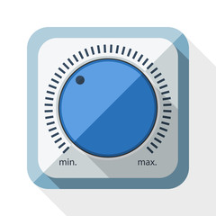 Volume knob icon with long shadow on white background